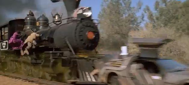 back to the future 3 train pushing the delorean