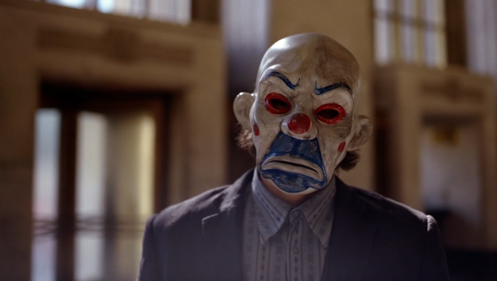 Bank robber Joker in Dark Knight