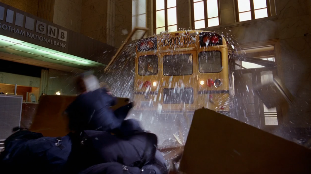 Bus crashing through bank in Dark Knight
