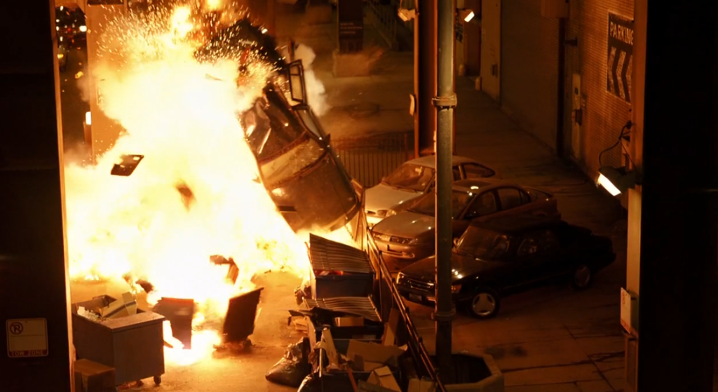 Car exploding in Dark Knight