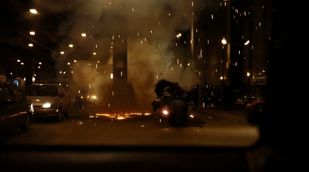 Batman riding motorbike in Dark Knight