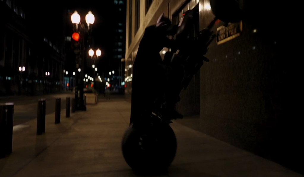 Batman drives up wall in Dark Knight