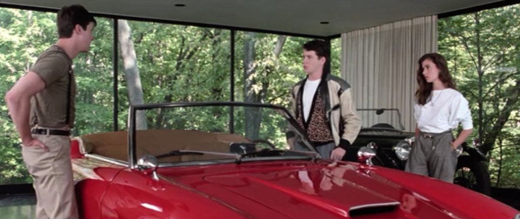 Cameron's car in garage in Ferris Bueller