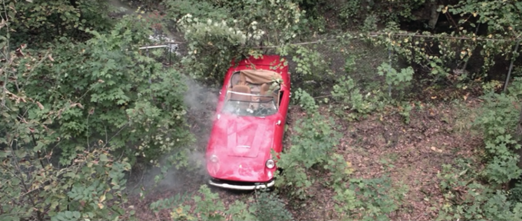 crashed car steaming in Ferris Bueller's Day Off