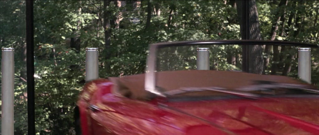 traffic bollards stopping car in Ferris Bueller's Day Off