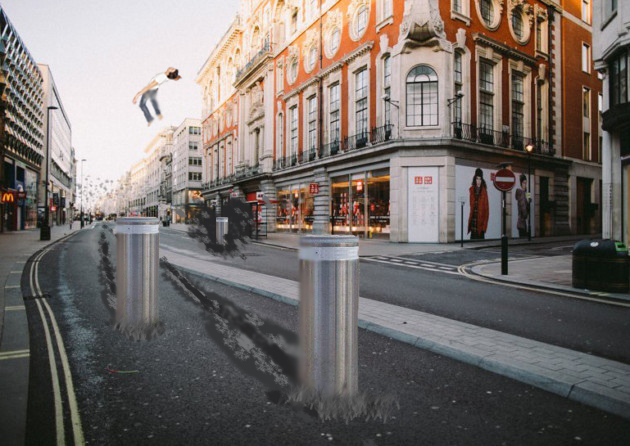 bollards in london man flying
