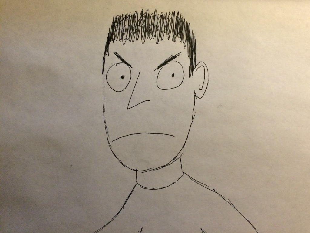 cartoon man scowling